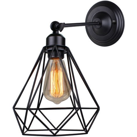 Lámpara de Pared Ajustable Lámpara de Jaula Antigua Lámpara de Pared de Metal Industrial para Dormitorio Cafe Bar Negro E27