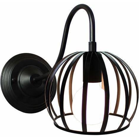 Lámpara de Pared Aplique Pelota Sandía Jaula de hierro Sconce Creativo Metal Simple Retro Iluminación Industrial Decorativa para Restaurante Pasillo Hotel (Negro)