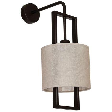 Lampara de Pared Aries - Applique - Marron oscuro en Metal, Tela, 17,5 x 29 x 45 cm, 1 x E27, 60W