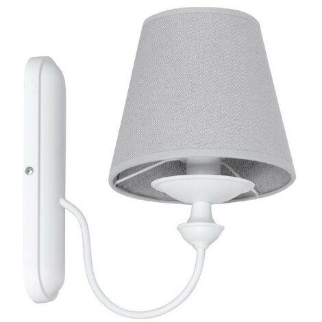 Lampara de Pared Azucena - Aplique - para la sala de estar, la habitacion - Blanco en Metal, Tela, 25 x 16 x 28 cm, 1 x E14, 40W