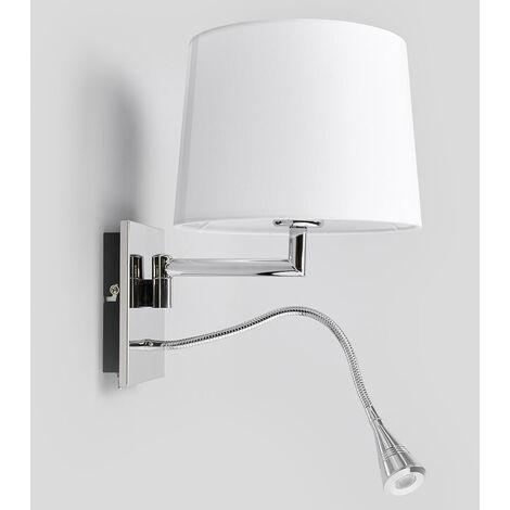 Lámpara de pared blanca Siv con brazo de lectura