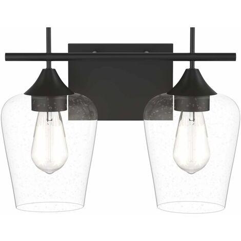 Lámpara de Pared con 2 Pantallas de Vidrio Lámpara con Base de Metal para Dormitorio Salón Baño Sin Bombilla