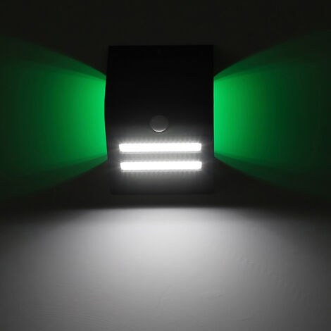 Lampara de pared con deteccion de movimiento solar IP65 Tres modos de iluminacion Carcasa negra / blanca Fuente de luz principal Luz blanca + atmosfera Color de luz Blanco calido / Azul / Rojo / Verde
