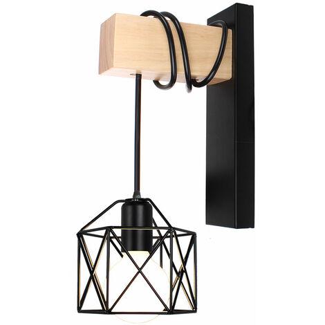 Lámpara de Pared con Forma de Cubo de Luz de Pared de Madera Retro Aplique de Pared Cuadrado Creativo Moderno para Mesita de Noche Loft Escalera Negro
