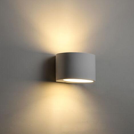 Lámpara de Pared Creativa Cilindro Aplique de Pared Estilo Nórdico Moderno Lámpara de Pared LED Yeso de 5W para Escaleras de Noche Dormitorio Blanco Cálido