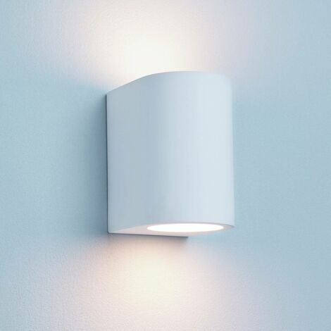 Lámpara de pared de cilindro de yeso, en yeso