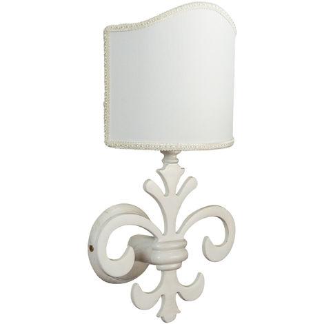 Lámpara de pared, de estilo florentino de latón patinado blanco envejecido L21XPR18XH36 cm Made in Italy