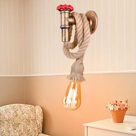 Lámpara de Pared de Grifo de Cuerda de Cáñamo Lámpara de Techo Industrial Retro para Dormitorio Cafe Bar óxido