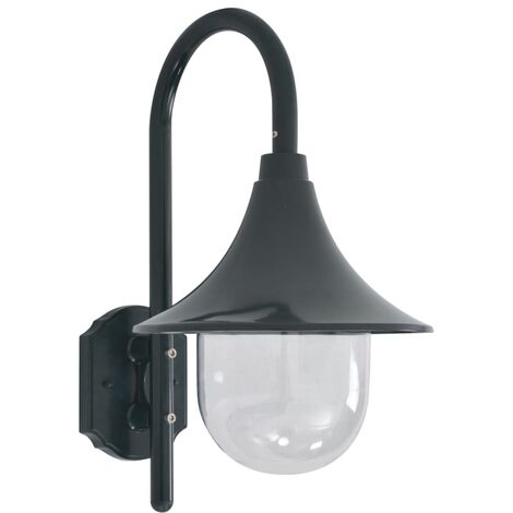 Lámpara de pared de jardín aluminio verde oscuro E27 42 cm