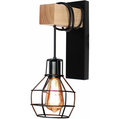 Lámpara de Pared de Jaula Creativa Luz de Pared Vintage Antigua Aplique de Pared de Metal Industrial Negro para Entrada Escalera Cabecera Café