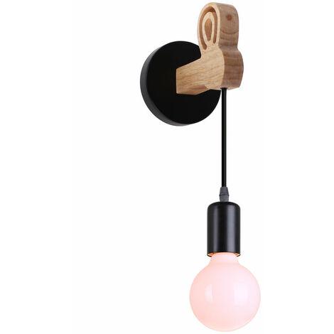 Lámpara de Pared de Madera Moderna Luz de Pared de Conejo Creativa Aplique de Pared Retro para Entrada de Escalera Junto a la Cama Negro