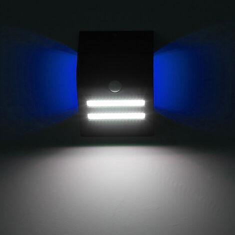 Lampara de pared de movimiento Deteccion solar, IP65, tres modos de iluminacion, cascara negro, azul claro atmosfera