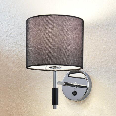Lámpara de pared de tela Franjo en negro