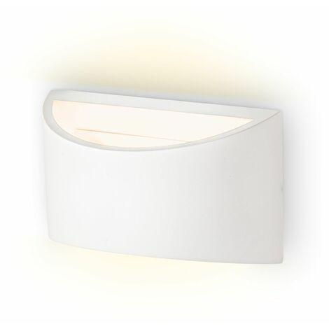 Lámpara de pared de yeso LED 20x8,5x11,5 cm, 3,8W G9 230V, Color Blanco, Apliques de decoración moderna