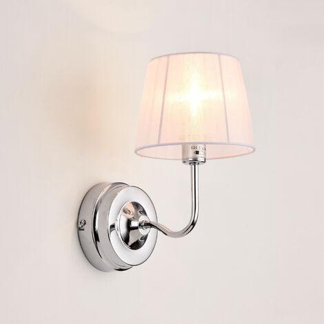 Lámpara de pared - diseño moderno blanca - aplique de pared - metal, tela - diámetro pantalla 11,5 cm (arriba) - 15 cm (abajo) - para mesilla de noche