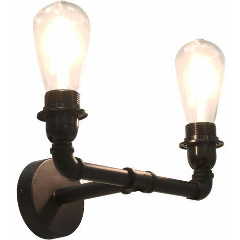 Lámpara de pared doble negro 2 bombillas E27