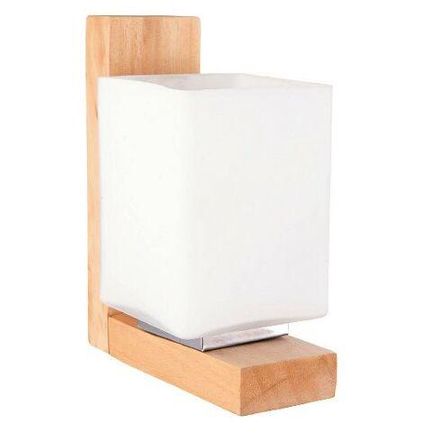 Lampara de Pared Dora Apliques - Rectangular - Roble, Blanco en Madera, Vidrio, 12 x 9 x 18 cm, 1 x E27, Max 40W
