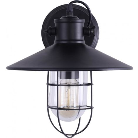 Lámpara de Pared Edison Pantalla Negra Jaula – Acero de carbono Negro