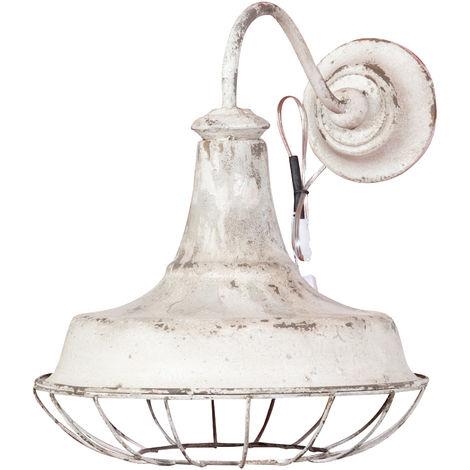 Lámpara de pared estilo rústico, acabado en blanco envejecido (cm: 46 x 36 x 42)