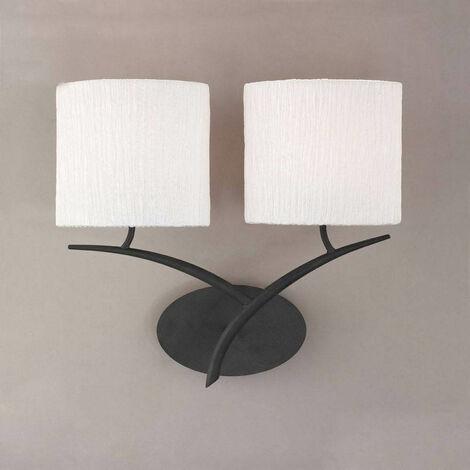 Lámpara de pared Eve 2-Light E27, antracita con pantalla ovalada blanca