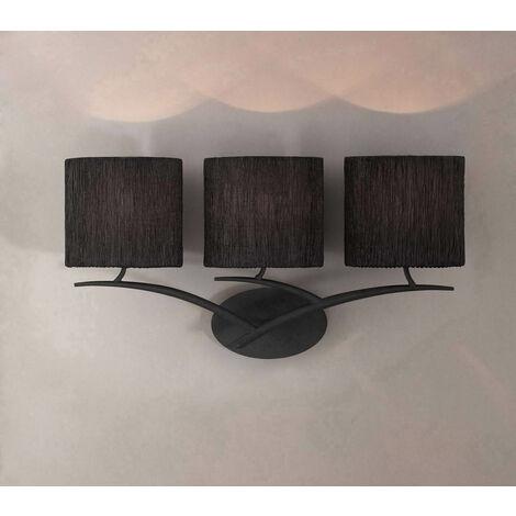 Lámpara de pared Eve 3 luces E27, antracita con pantalla ovalada negra