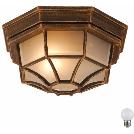 "main image of ""Lámpara de pared exterior porche de aluminio proyector de la lámpara de techo de vidrio patinado establecer incl. lámparas LED"""