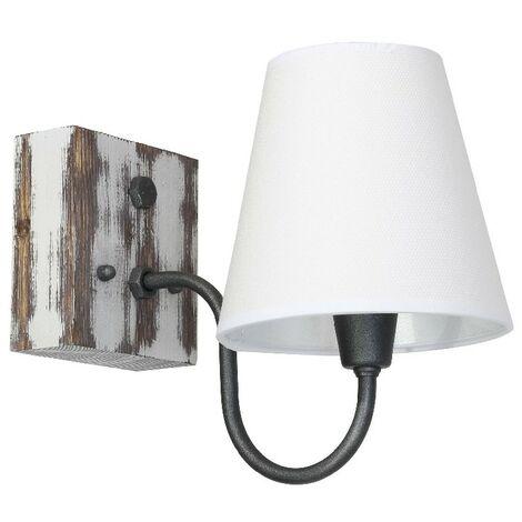 Lampara de Pared Gru - Applique - Blanco en Metal, Madera, Tela, 15 x 27,5 x 22 cm, 1 x E27, 60W