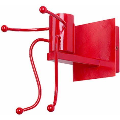 Lámpara de Pared Hombre Pequeño de Hierro Aplique Ajustable Diseño Metal Moderno Creativo Infantil Persona un luz de Muro Iluminacion de Restaurante Cocina Dormitorio (Rojo)