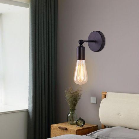 Lámpara de pared industrial con candelero metálico Lámpara de pared Ajustable (Negro)E27 decoración de zócalo para cafetería(excluyendo bombilla)