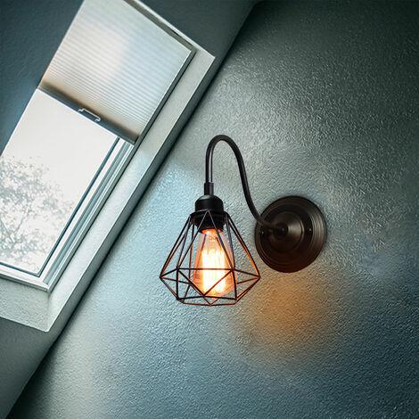 Lámpara de Pared Industrial Luz de Pared Creativa Lámpara de Techo Jaula Vintage Aplique de Pared Diamante Retro (Negro)