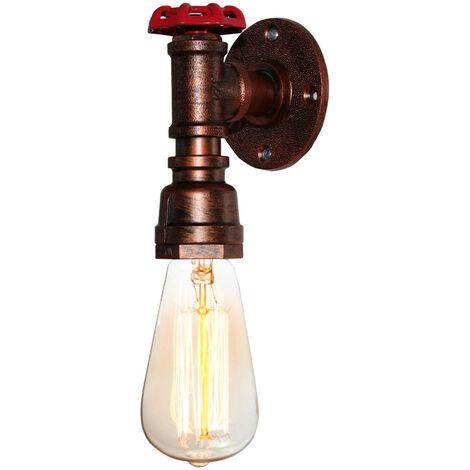 Lámpara de Pared Industrial Vintage Luz de Pared de Metal Rústico Aplique de Pared Interior Retro para Pasillo Pasillo Mesita de Noche Cobre