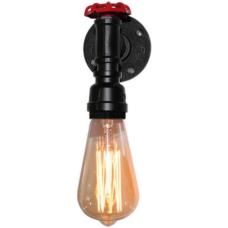 Lámpara de Pared Industrial Vintage Luz de Pared de Metal Rústico Aplique de Pared Interior Retro para Pasillo Pasillo Mesita de Noche Negro