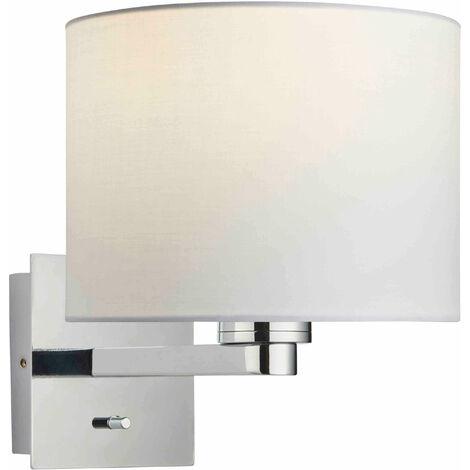 lámpara de pared Issac cilindro en acero, placa de cromo y blanco de la tela de la vendimia E27