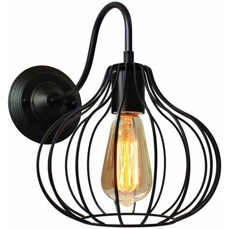 Lámpara de Pared Jaula de Hierro Metal Moderno de Moda Creativo Aplique Industrial Vintage Diseño Decoracion de Pasillo Restaurante comedor Cafe (Negro)