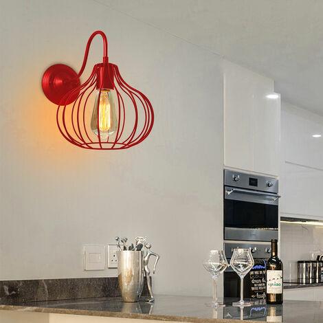 Lámpara de Pared Jaula de Hierro Metal Moderno de Moda Creativo Aplique Industrial Vintage Diseño Decoracion de Pasillo Restaurante comedor Cafe (Rojo)