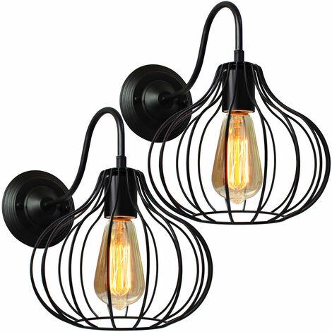 Lámpara de Pared Jaula Hierro Metal Moderno Moda Creativo Aplique de Pared Industrial Vintage Diseño Decoracion de Pasillo Restaurante Comedor Cafe (Negro)2pcs