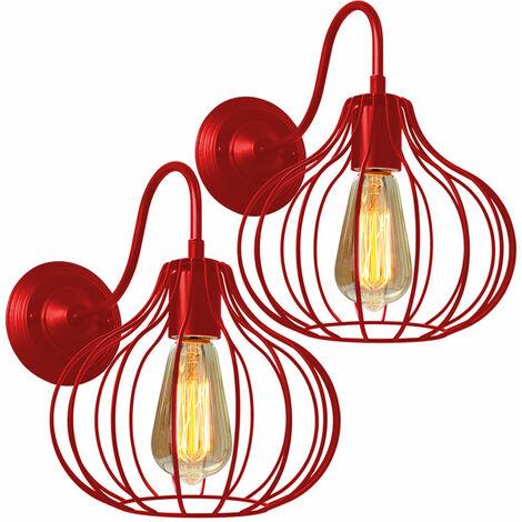 Lámpara de Pared Jaula Hierro Metal Moderno Moda Creativo Aplique de Pared Industrial Vintage Diseño Decoracion de Pasillo Restaurante Comedor Cafe (Rojo)2pcs