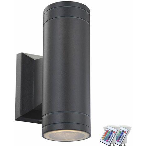 lámpara de pared LED ALU Luz de aparcamiento UP DOWN proyector alejado de ajuste de control incl. RGB lámparas LED