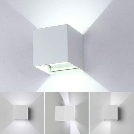 Lámpara de pared LED de Aluminio Moderno Minimalista Aplique (Blanco)Forma Cubo Cuadrado Creativo Ajustable Diseno 12w para Cocina Restaurante pasillo Entrada (Luz blanca)