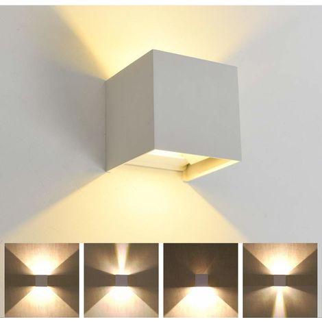 Lámpara de pared LED de Aluminio Moderno Minimalista Aplique (Blanco)Forma Cubo Cuadrado Creativo Ajustable Diseno 7w para Cocina Restaurante pasillo Entrada