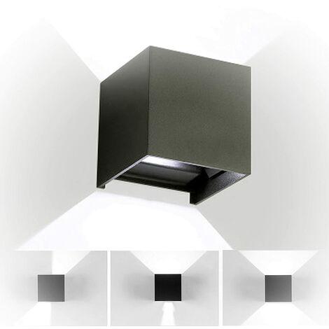 Lámpara de pared LED de Aluminio Moderno Minimalista Aplique (Negro)Forma Cubo Cuadrado Creativo Ajustable Diseno 12w para Cocina Restaurante pasillo Entrada (Luz blanca)