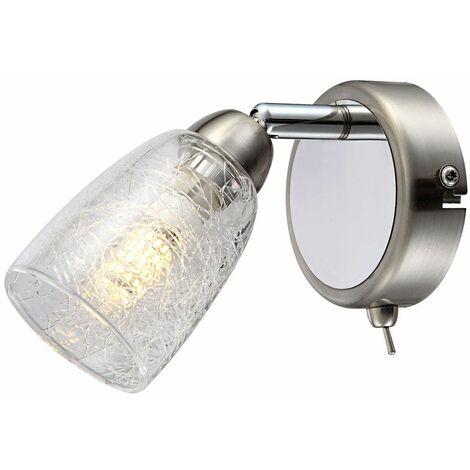 Lámpara de pared LED foco cromado salón giratorio lámpara de vidrio craquelado óptica Globo 56023-1L
