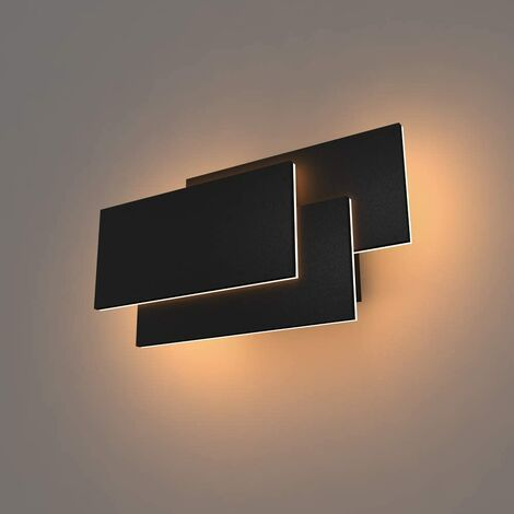 Lámpara de Pared LED Interior 24W Lámpara de Pared Moderna Aplique de Pared Blanco Cálido 3 en 1 Luz de Pared para Sala de Estar Dormitorio Escalera Pasillo Negro