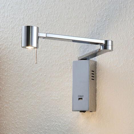 Lámpara de pared LED Merete, salida de carga USB