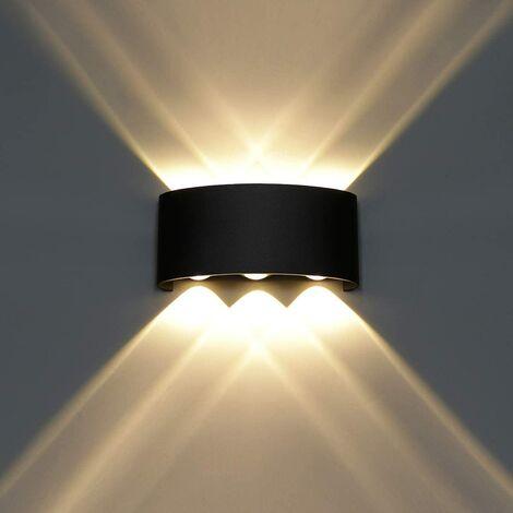 Lámpara de pared LED moderna 6W Luz de pared blanca cálida [Clase energética A +] para baño Porche Dormitorio Pasillo Sala de estar Escalera - Negro