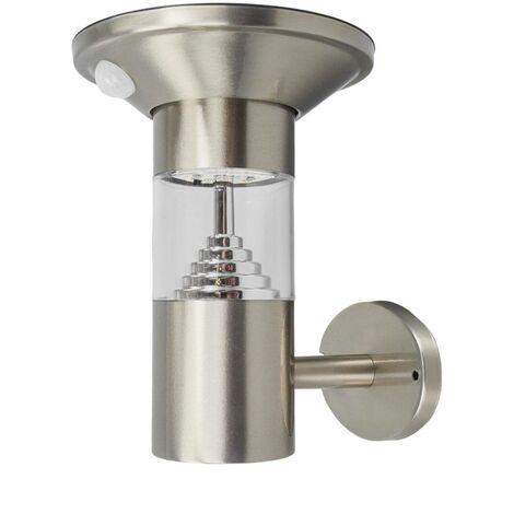 Lámpara de pared LED solar Jalisa, inox. sensor
