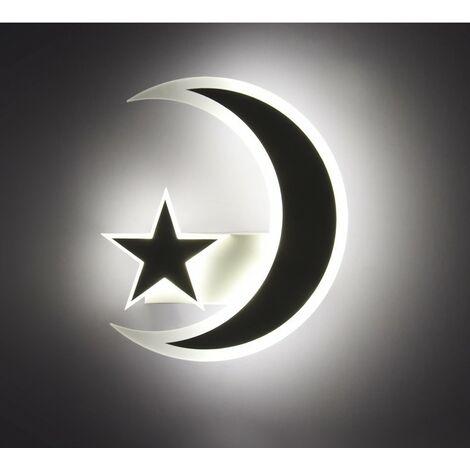 Lámpara de Pared Moderna Elegante, Lámpara de Pared Creativa de Estrella Luna, Aplique de Pared Simple Nórdico, Luz de Pared para Bebé Bonita, Blanco Cálido