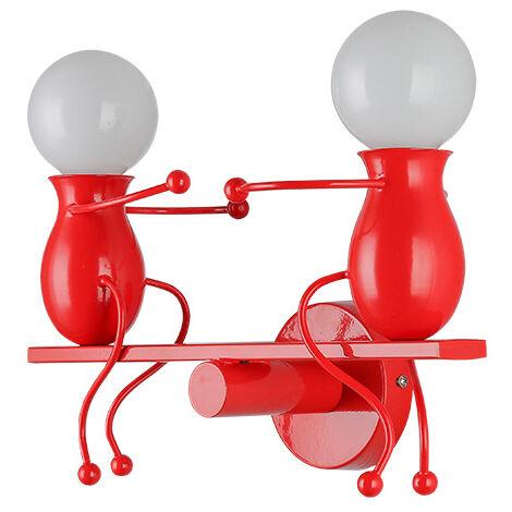 Lámpara de Pared Nórdica Simple de Hierro Forjado Luz Colgante Creativa Humanoide Lámpara de Araña de 2 Cabezas para Sala de Estar Dormitorio Habitación para Niños Rojo