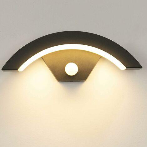 Lámpara de pared para exteriores LangRay de 15 W con sensor de movimiento LED 3000K Lámpara de pared para exteriores blanca cálida Lámpara de pared para exteriores de aluminio para jardín / baño delantero / porche / garaje