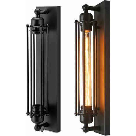 Lámpara de pared para pasillo, lámpara de pared vintage, lámpara industrial vintage de estilo retro, lámpara de pared de hierro forjado E26 / E27 (sin bombilla incluida) (1 pieza)